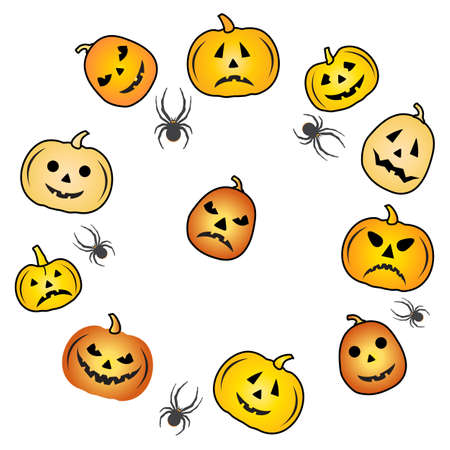 Halloween Party Vector illustration pumpkin. Cute spooky orange pumpkin with smile. Happy Halloween holiday cartoon character set. Trick or treat festive background Design for party card, print