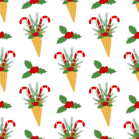 Happy New Year 2021 Merry Christmas seamless pattern Vector illustration with ice cream waffle cone, candy canes, sprig of Christmas trees, mistletoe. Design for packaging paper, fabric or print