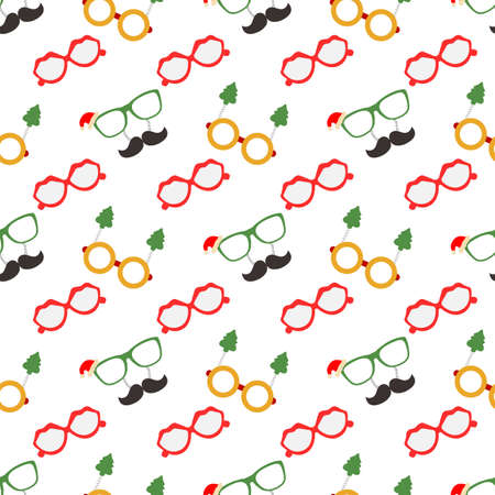 Happy new year 2021, Merry Christmas vector seamless pattern Glasses with christmas trees and glasses with Santa's hat and mustache. Masquerade Party Background. Design for wrapping, fabric, print.