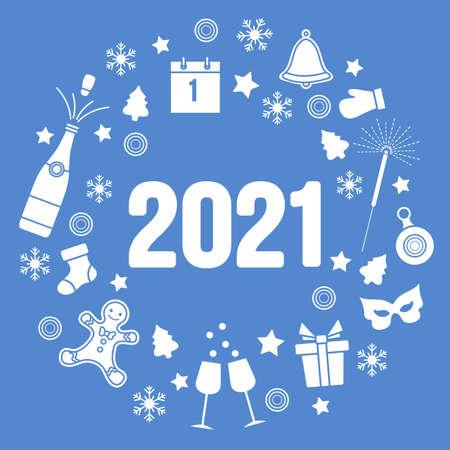 Happy New Year 2021 Merry Christmas Vector illustration Gift, bell, Christmas tree, bottle, gingerbread man, glasses, mitten, calendar, mask, Christmas sock, snowflakes Winter holiday Design for print Illusztráció