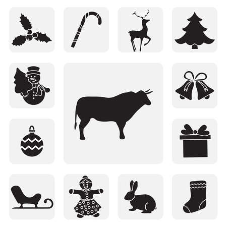 Happy New Year 2021, Merry Christmas Vector illustration Mistletoe, gift, hare, gingerbread man, sock, ball, Christmas tree, bells, candy cane, snowman, bull, deer, sleigh. Design for sticker, print. Stock Illustratie