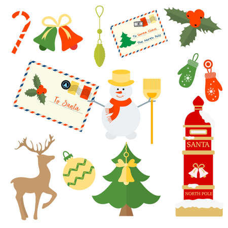 Happy New Year 2021 Merry Christmas vector illustration Santa's mailbox, letters to Santa, Christmas tree, mistletoe, snowman, bells, candy cane, mittens, deer. Winter holiday symbol. Design for print Stock Illustratie