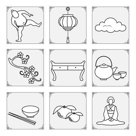 Symbols of Japanese culture. Japanese woman in kimono, tangerines, bowl, chopsticks, teapot, cups, sakura, table, sumo, asian lantern, cloud. Traditions in Japan. Oriental elements. Design for print Stock Illustratie