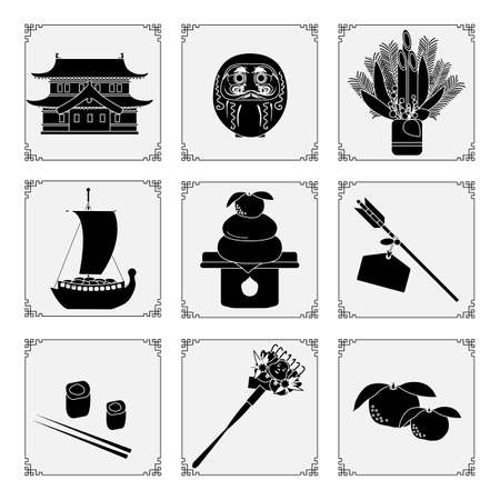 Symbols of the Japanese New Year 2021. Castle, daruma, treasure ship, tangerine, arrows, food, rolls, rake, pine, bamboo decorations at entrance to house. New Year's Eve Traditions in Japan. Good luck