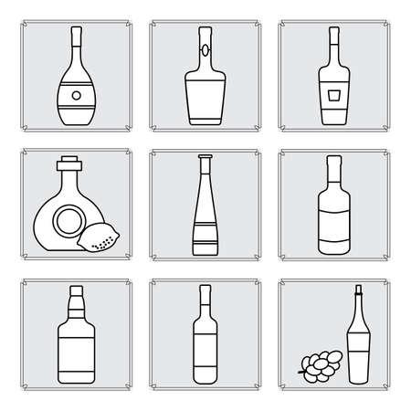 Vector illustration Set bottles of assorted alcoholic beverage. Liquor store, alcohol shop, bar collection. Alcohol drinks market concept. Wine, cognac, liquor, whiskey, brandy. Design for web print