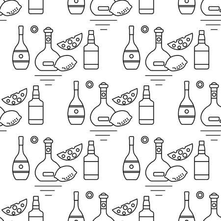 Seamless pattern Vector illustration Bottles of alcoholic beverage, cheese, lemon. Liquor store, bar. Alcohol drinks market concept.