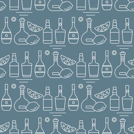 Seamless pattern illustration Bottles of alcoholic beverage, cheese, lemon. Liquor store, bar. Alcohol drinks market concept. Barman Wine, cognac, liquor, whiskey, brandy Design for menu, print