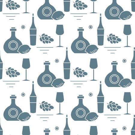 Seamless pattern illustration Bottles of alcoholic beverage, grapes, lemon, wineglass. Liquor store, bar Alcohol drinks market concept Barman Wine, cognac, liquor, brandy Design for menu, print