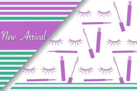 illustration New arrival Sale Decorative cosmetics makeup Eyelashes Mascara Promotional background Design for new collection arriving to store, beauty salon, shop Advertising banner Shop now