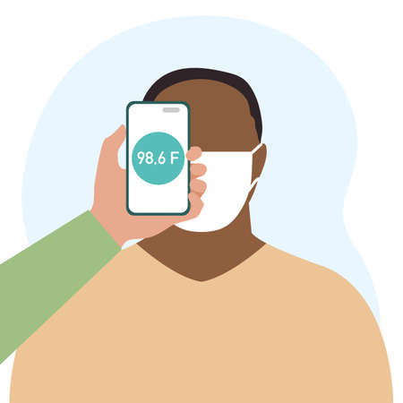 illustration Phone placed on forehead of person remotely measures temperature. New technology. New normal. Measurement of human body temperature at a distance. Health, medicine Design for print 向量圖像