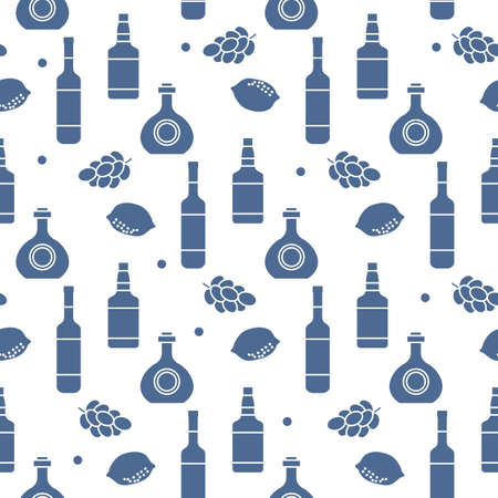 Seamless pattern illustration Bottles of alcoholic beverage, grapes, lemon, wineglass. Liquor store, bar Alcohol drinks market concept Barman Wine, cognac, liquor, brandy Design for menu, print