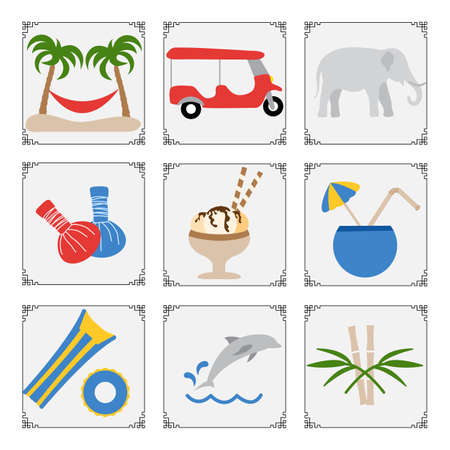 Thailand symbols set illustration Tuk-tuk, palm trees, hammock, elephant, herbal pouches for massage, ice cream, cocktail, inflatable ring, mattress, dolphin, bamboo Vacation Travel Thai Summer 矢量图像
