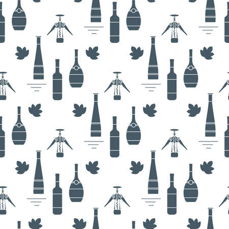 Seamless pattern Vector illustration Bottles of alcoholic beverage, corkscrew. Liquor store, bar. Alcohol drinks market concept. Alcohol Element for Barman. Wine, liquor. Design for menu, web, print