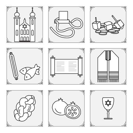 Vector illustration Jewish holiday Traditional symbols Torah scroll, Synagogue, tefillin, fish, dreidel, pomegranate, Judea's ritual clothing, challah Happy Hanukkah Rosh Hashanah Design for print