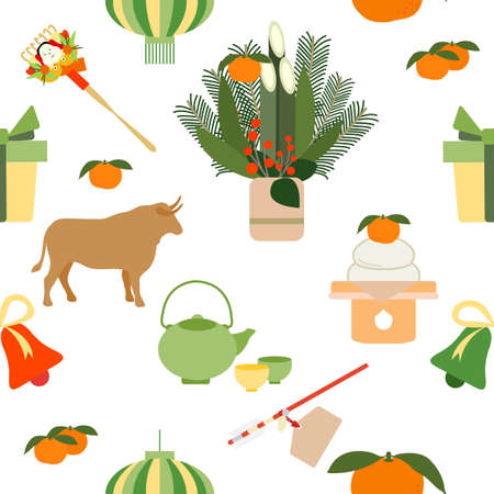 Vector seamless pattern Symbols of Japanese New Year 2021. Ox, asian lantern, kettle cup, food, rake, tangerines, gift, bell, pine, bamboo decorations at entrance to house, arrow. Japan Traditions