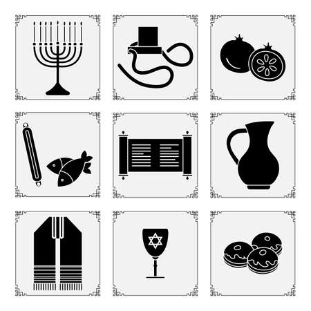 Vector illustration Jewish holiday Traditional symbols Menorah candles Torah scroll tefillin jug of oil, fish, donuts Judea's ritual clothing, pomegranate Happy Hanukkah Rosh Hashanah Design for print Vektorové ilustrace