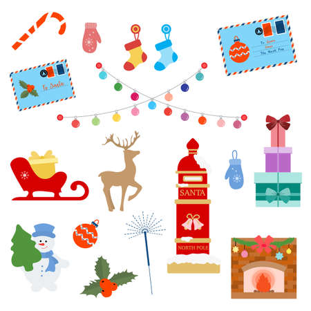 Happy New Year 2021 Merry Christmas vector illustration Santa's mailbox, letters to Santa, Christmas tree, mistletoe, snowman, candy cane, mittens, deer, socks, bulbs, sleigh, gifts fireplace sparkler