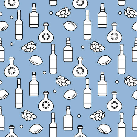Seamless pattern Vector illustration Bottles of alcoholic beverage, grapes, lemon, wineglass. Liquor store, bar Alcohol drinks market concept Barman Wine, cognac, liquor, brandy Design for menu, print