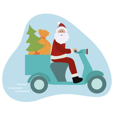 Happy New Year 2021 Merry Christmas vector illustration. Santa Claus on motorbike carries gifts, Christmas tree. Delivery, shipping. Winter holiday Festive background. Design for greeting card, print