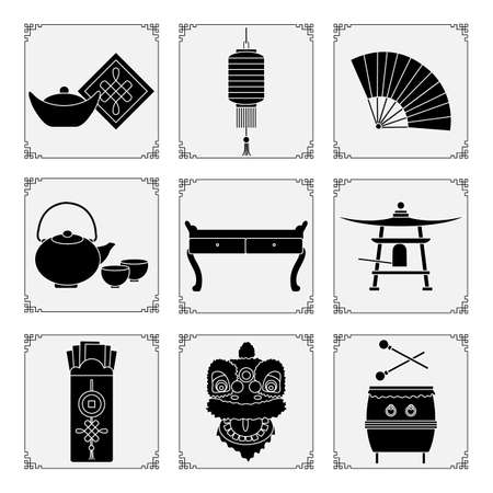 Symbols of the Chinese New Year 2021 Vector illustration Chinese lantern, bell, fan, teapot and cups, table, ingot, drum, envelope with money, lion mask. Holiday Traditions in China. Celebration