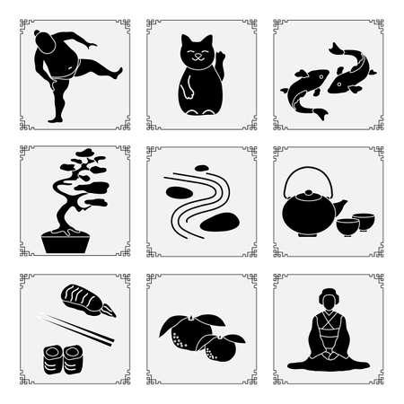 Symbols of Japanese culture Japanese woman in kimono, tangerines, rolls, sushi, chopsticks, teapot, cups, sumo athlete, rock garden, lucky cat Maneki Neko, koi carps, bonsai plant Oriental elements 向量圖像