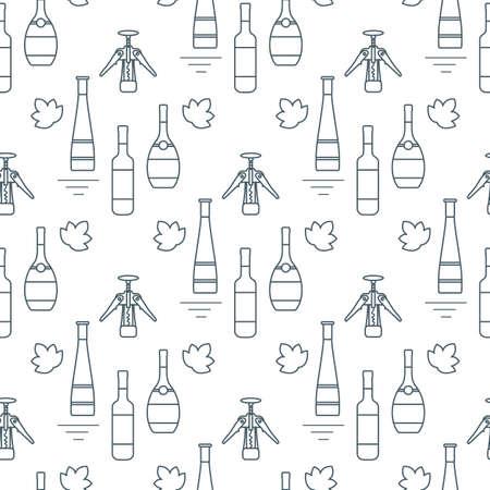 Seamless pattern Vector illustration Bottles of alcoholic beverage, corkscrew. Liquor store, bar. Alcohol drinks market concept. Alcohol Element for Barman. Wine, liquor. Design for menu, web, print 向量圖像