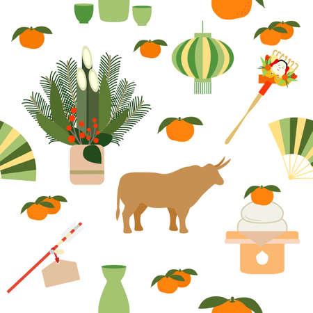 Vector seamless pattern Symbols of Japanese New Year 2021 Ox, asian lantern, food, rake, tangerines, pine bamboo decorations at entrance to house, arrow, fan, sake set Japan Traditions Oriental Travel 向量圖像