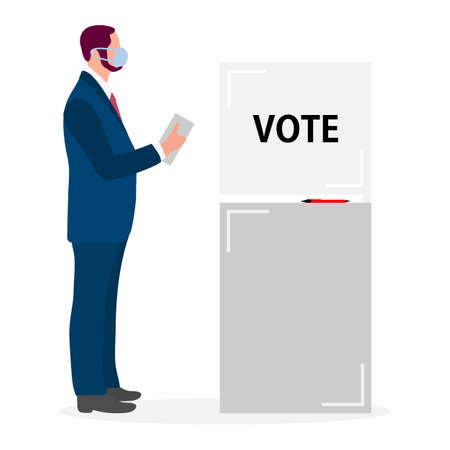 Voting Vector illustration Election day People in protective medical mask vote in voting booth. People give their vote for the candidate. USA American presidential election 2020. Election campaign