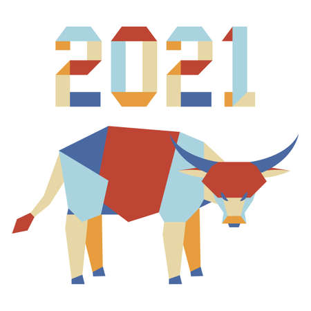 Happy new year Vector illustration with origami 2021 year numbers and bull. Bull annual animal zodiac sign, symbol of 2021 on the Chinese calendar. Year of the ox. Chinese horoscope. Design for print 向量圖像