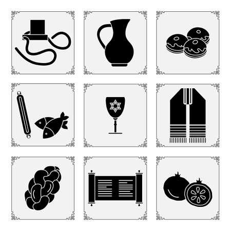 Vector illustration Jewish holiday Traditional symbols Torah scroll, tefillin, jug of oil, fish, donuts, Judea's ritual clothing, pomegranate, challah Happy Hanukkah Rosh Hashanah Design for print