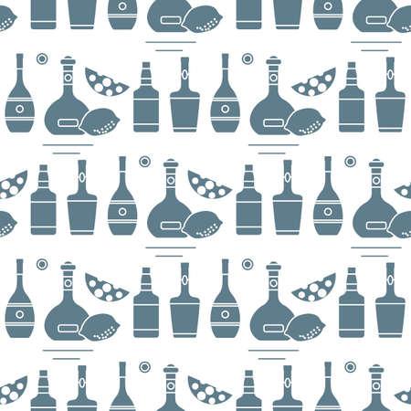 Seamless pattern Vector illustration Bottles of alcoholic beverage, cheese, lemon. Liquor store, bar. Alcohol drinks market concept. Barman Wine, cognac, liquor, whiskey, brandy Design for menu, print
