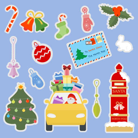 Happy New Year 2021 Merry Christmas vector illustration Santa Claus carries gifts by car, Santa's mailbox, letter to Santa, Christmas tree, mistletoe, bells, socks, candy cane, mittens, hare. Holiday