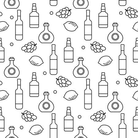 Seamless pattern Vector illustration Bottles of alcoholic beverage, grapes, lemon, wineglass. Liquor store, bar Alcohol drinks market concept Barman Wine, cognac, liquor, brandy Design for menu, print 矢量图像