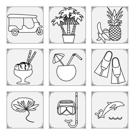 Thailand symbols set Vector illustration Cocktail, tuk-tuk, palm trees, hammock, banana, pineapple, ice cream, mask, tube, fins, dolphin, lily. Vacation Travel Thai Summer rest. Design for print