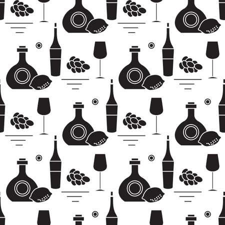 Seamless pattern Vector illustration Bottles of alcoholic beverage, grapes, lemon, wineglass.