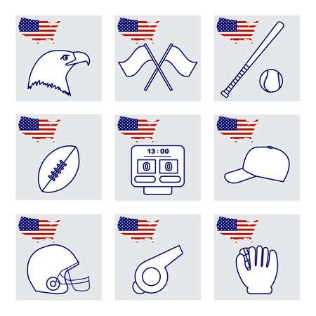 Vector Illustration USA set American national symbols Eagle head, baseball bat, glove, ball, cap, rugby ball, helmet, scoreboard, whistle. Popular sports in America. Patriot pride. Design for print
