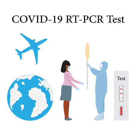 Vector illustration Carrying out RT PCR test to diagnose coronavirus infection. People protect from covid-19 virus. Reducing risk of infection, prevention measures Science Medicine Design for print