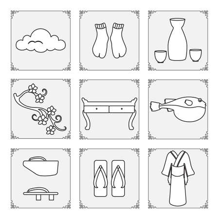 Symbols of Japanese culture. Kimono, sake set, tabi socks, sakura, table, puffer fish fugu, traditional japanese shoes, cloud. Japan Traditions Oriental elements Set Travel Design for print