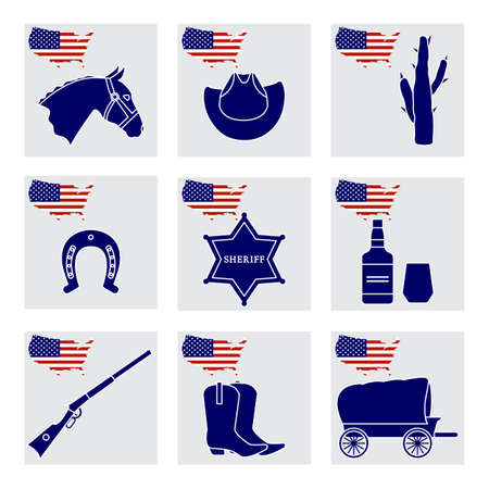 Vector Illustration USA set American national symbols Horse head, cowboy boots, hat, cactus, horseshoe, sheriff's star, whiskey, gun, van. 4th of July Independence day. Cowboy Wild West. Patriot pride 向量圖像