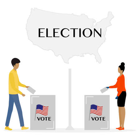 Voting Vector illustration Election day People vote. People give their vote for the candidate. USA American presidential election 2020. Election campaign. Political campaigning. Design for print
