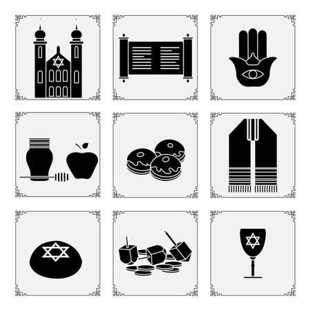 Vector illustration Jewish holiday Traditional symbols Torah scroll, Synagogue, Star of David, donuts, amulet hamsa, honey, apple, dreidel, coins, Judea's ritual clothing Happy Hanukkah Rosh Hashanah 向量圖像