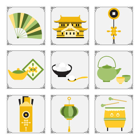 Symbols of the Chinese New Year 2021 Vector illustration Chinese lantern, drum, ingot, food sweet rice balls tangyuam, coin, teapot, cups, envelope with money, castle, fan. Holiday Traditions in China 向量圖像