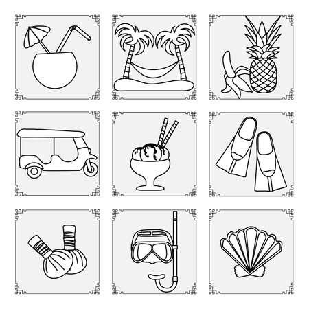 Thailand symbols set Vector illustration Cocktail, palm trees, hammock, banana, pineapple, ice cream, mask, tube, fins, seashell, tuk-tuk, herbal pouches for massage Vacation Travel Thai Summer rest 向量圖像