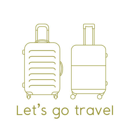 Vector illustration Suitcases isolated on white background. Let's go travel. Summer time, vacation, holiday, leisure. Concept for travel agency, booking service. Design for web page, print 向量圖像