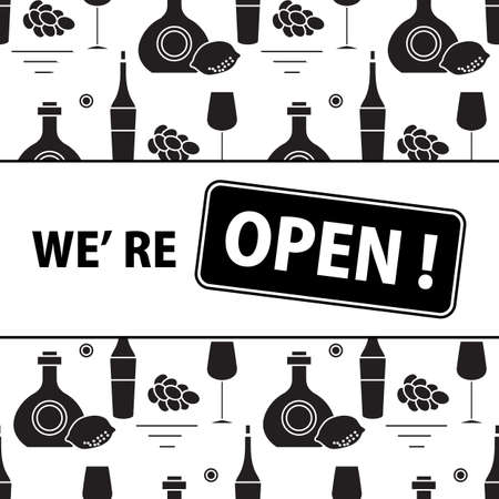Vector illustration Reopening of liquor store alcohol shop bar after COVID-19 coronavirus pandemic Sign We're open Alcohol drink market concept Bottle glasses of wine in bar wine shop Design for print