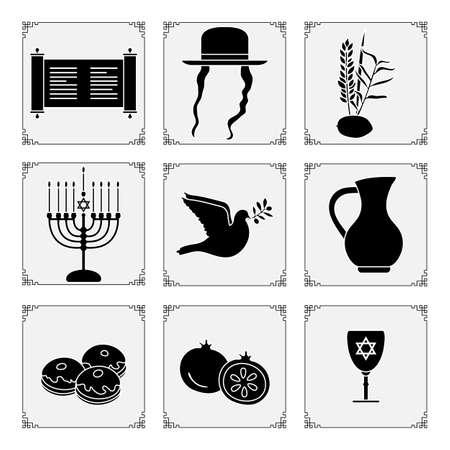 Vector illustration Jewish holiday Traditional symbols Menorah candles, Torah scroll, jug of oil, dove, donuts, pomegranate, lemon, date palm branch, hat, paces Happy Hanukkah Sukkot Design for print 向量圖像