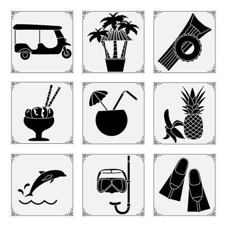 Thailand symbols set Vector illustration Tuk-tuk, palm trees, inflatable ring, mattress, ice cream, cocktail, banana, pineapple, dolphin, mask, tube, fins. Vacation Travel Thai Summer rest.