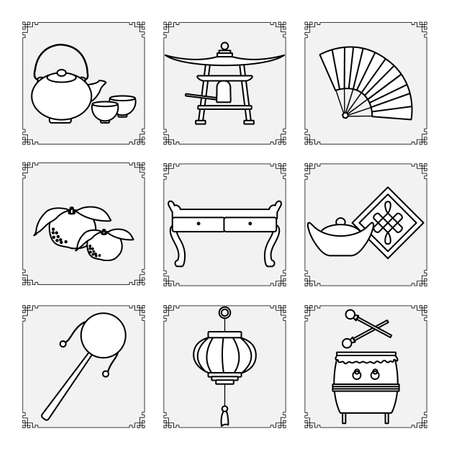 Symbols of the Chinese New Year 2021 Vector illustration Chinese lantern, bell, fan, teapot and cups, table, ingot, drum, tangerines, rattle. Holiday Traditions in China. Celebration Design for print 向量圖像