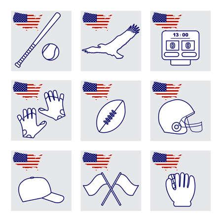 Vector Illustration USA set American national symbols Eagle, baseball bat, glove, ball, cap, rugby ball, helmet, scoreboard. Popular sports in America. Patriot pride. Design for print