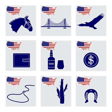 Vector Illustration USA set American national symbols Eagle, cactus, whiskey, bridge, purse, dollar coin, lasso, horseshoe, horse head, 4th of July Independence day Wild West collection Patriot pride 向量圖像